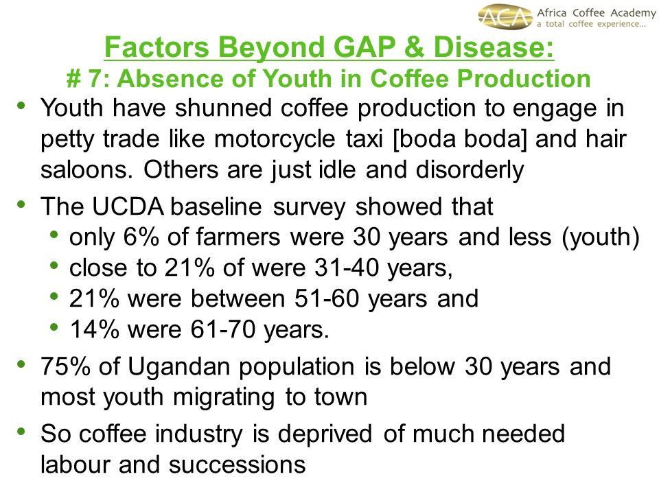 Factors Beyond GAP & Disease: # 7: Absence of Youth in Coffee Production Youth have shunned coffee production to engage in petty trade like motorcycle