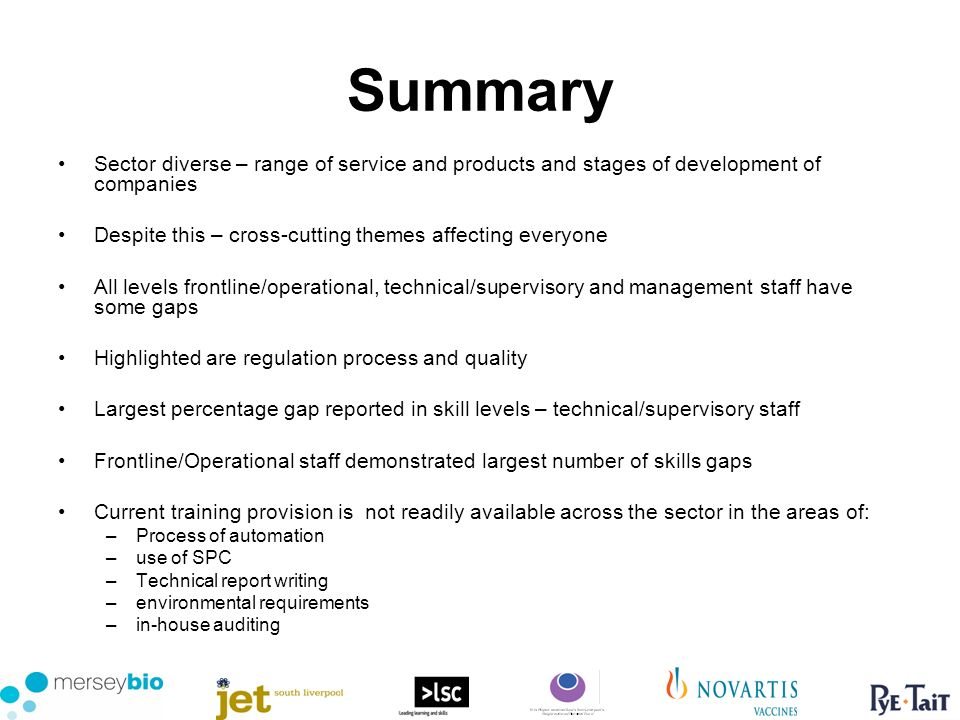 Summary Sector diverse – range of service and products and stages of development of companies Despite this – cross-cutting themes affecting everyone All levels frontline/operational, technical/supervisory and management staff have some gaps Highlighted are regulation process and quality Largest percentage gap reported in skill levels – technical/supervisory staff Frontline/Operational staff demonstrated largest number of skills gaps Current training provision is not readily available across the sector in the areas of: –Process of automation –use of SPC –Technical report writing –environmental requirements –in-house auditing