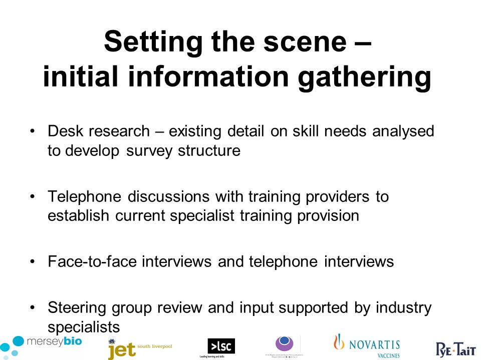 Setting the scene – initial information gathering Desk research – existing detail on skill needs analysed to develop survey structure Telephone discussions with training providers to establish current specialist training provision Face-to-face interviews and telephone interviews Steering group review and input supported by industry specialists