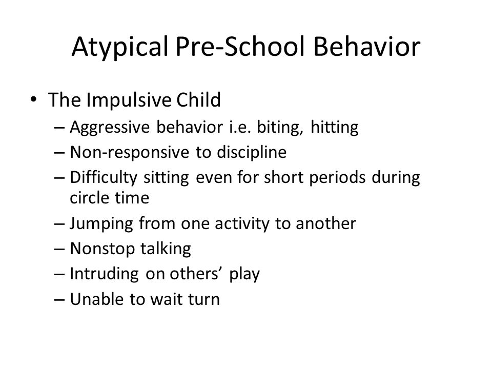 Managing Impulsive Behavior Let the kids know your expectations in advance Give choices Keep disciplinary statements short and sweet Use effective commands – Make sure the child is paying attention before you give the command – Give the command – Wait silently for compliance – Impose consequence if the command is not followed