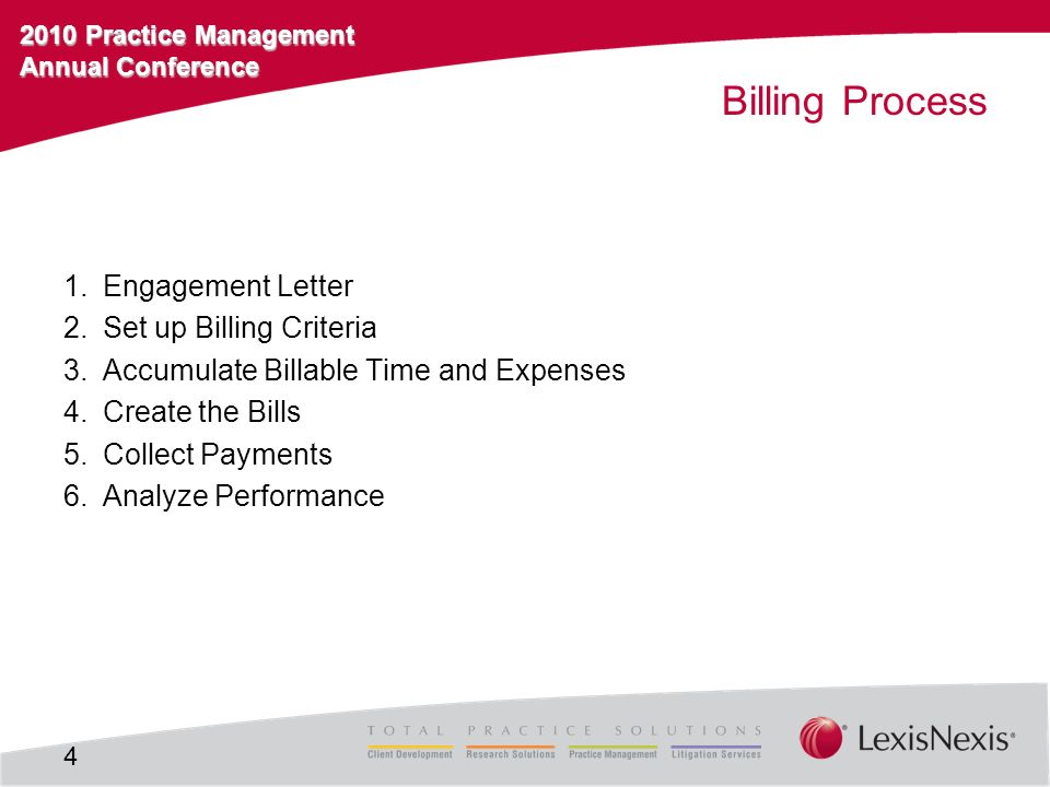 2010 Practice Management Annual Conference Billing Process 1.Engagement Letter 2.Set up Billing Criteria 3.Accumulate Billable Time and Expenses 4.Create the Bills 5.Collect Payments 6.Analyze Performance 4