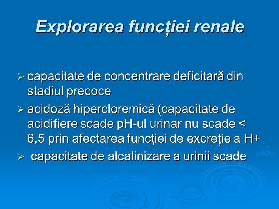 Explorarea funcţiei renale capacitate de concentrare deficitară din stadiul precoce capacitate de concentrare deficitară din stadiul precoce acidoză h