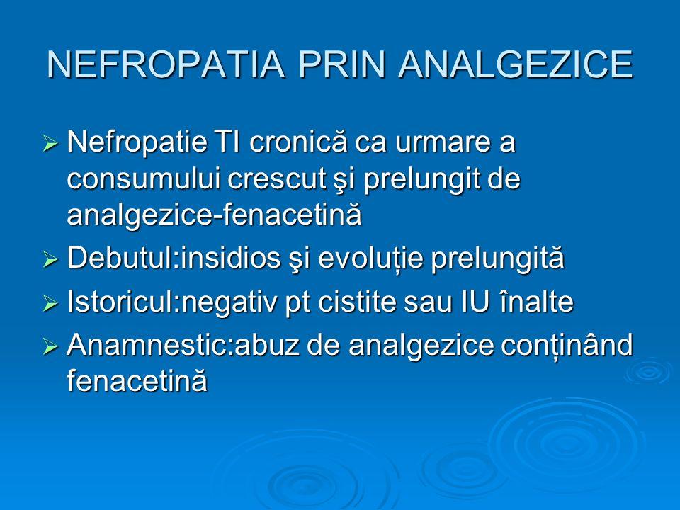 NEFROPATIA PRIN ANALGEZICE Nefropatie TI cronică ca urmare a consumului crescut şi prelungit de analgezice-fenacetină Nefropatie TI cronică ca urmare