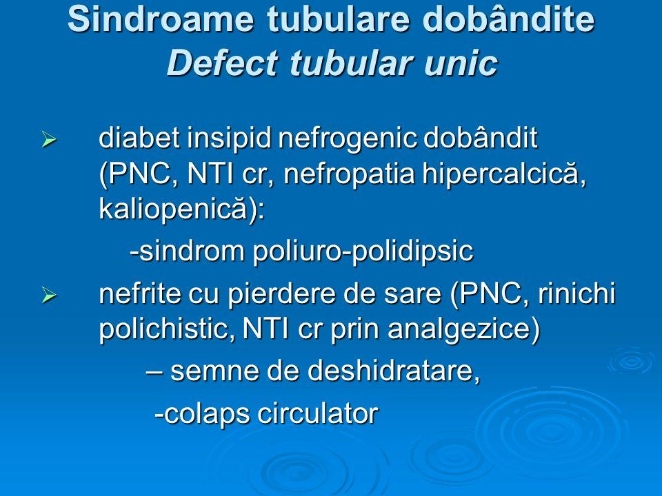 Sindroame tubulare dobândite Defect tubular unic diabet insipid nefrogenic dobândit (PNC, NTI cr, nefropatia hipercalcică, kaliopenică): diabet insipi