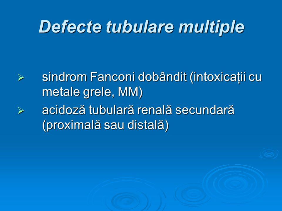 Defecte tubulare multiple sindrom Fanconi dobândit (intoxicaţii cu metale grele, MM) sindrom Fanconi dobândit (intoxicaţii cu metale grele, MM) acidoz