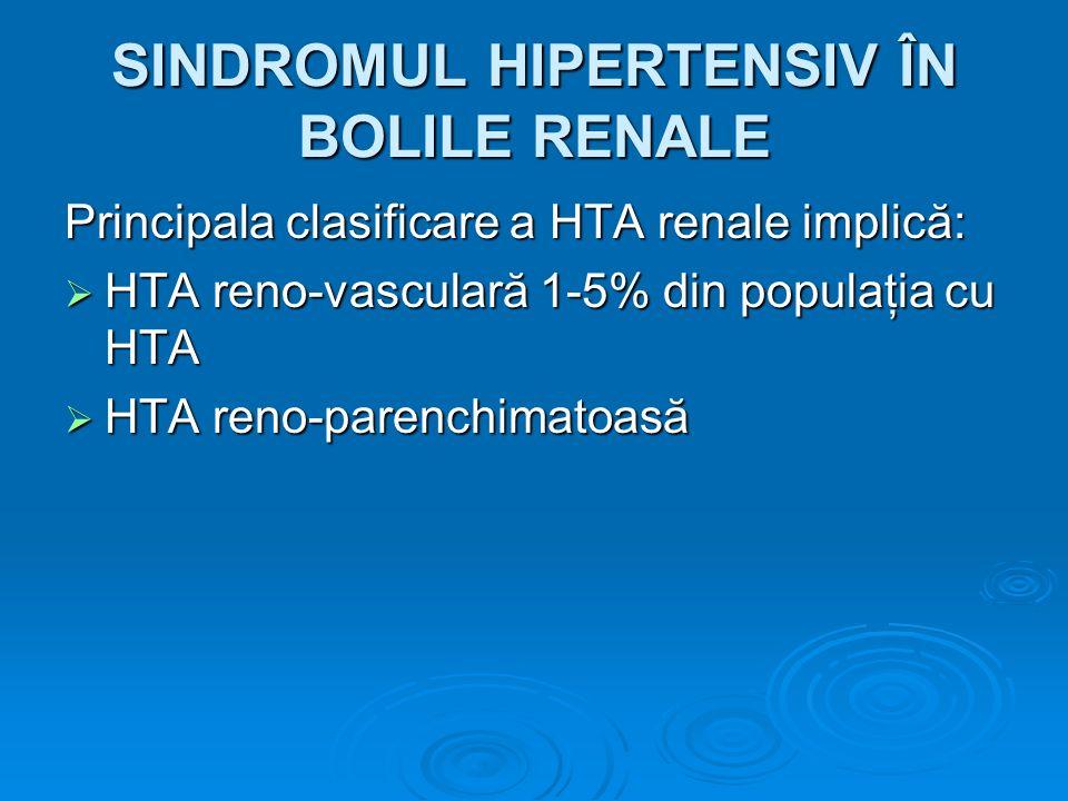 SINDROMUL HIPERTENSIV ÎN BOLILE RENALE Principala clasificare a HTA renale implică: HTA reno-vasculară 1-5% din populaţia cu HTA HTA reno-vasculară 1-