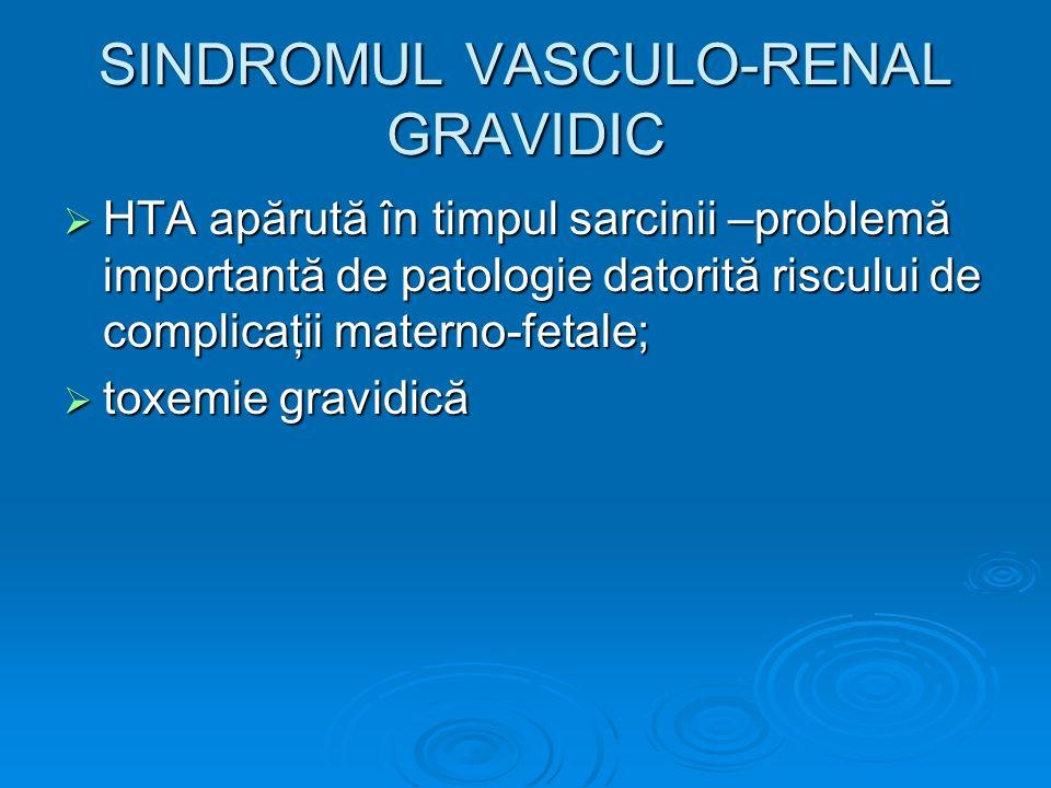 SINDROMUL VASCULO-RENAL GRAVIDIC HTA apărută în timpul sarcinii –problemă importantă de patologie datorită riscului de complicaţii materno-fetale; HTA