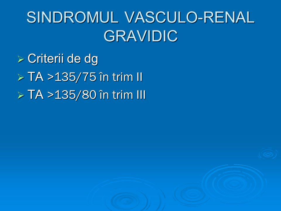 SINDROMUL VASCULO-RENAL GRAVIDIC Criterii de dg Criterii de dg TA >135/75 în trim II TA >135/75 în trim II TA >135/80 în trim III TA >135/80 în trim I