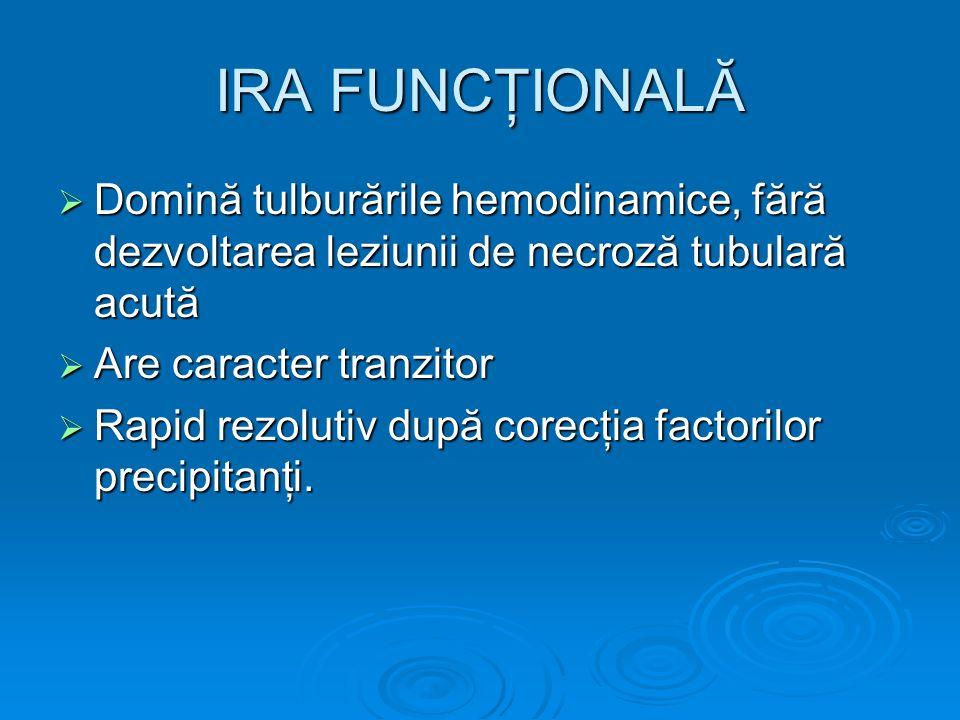 IRA FUNCŢIONALĂ Domină tulburările hemodinamice, fără dezvoltarea leziunii de necroză tubulară acută Domină tulburările hemodinamice, fără dezvoltarea