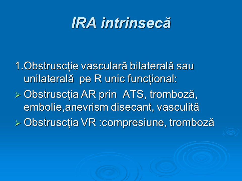 IRA intrinsecă 1.Obstruscţie vasculară bilaterală sau unilaterală pe R unic funcţional: Obstruscţia AR prin ATS, tromboză, embolie,anevrism disecant,