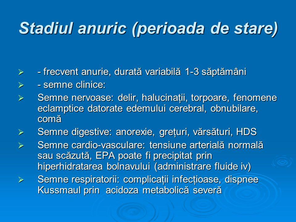 Stadiul anuric (perioada de stare) - frecvent anurie, durată variabilă 1-3 săptămâni - frecvent anurie, durată variabilă 1-3 săptămâni - semne clinice