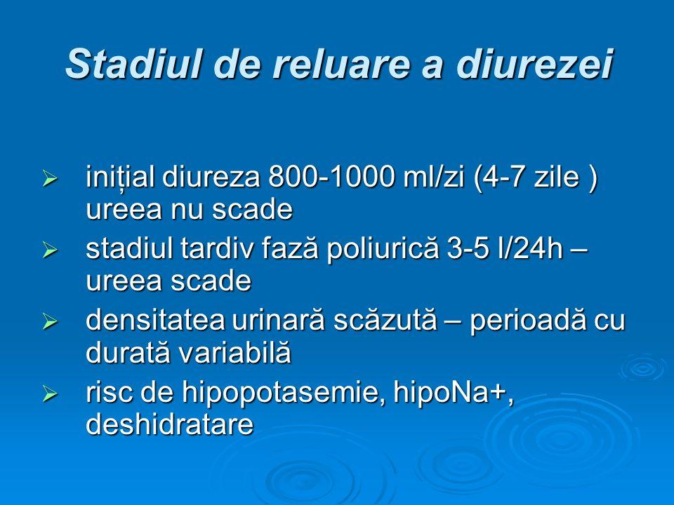 Stadiul de reluare a diurezei iniţial diureza 800-1000 ml/zi (4-7 zile ) ureea nu scade iniţial diureza 800-1000 ml/zi (4-7 zile ) ureea nu scade stad