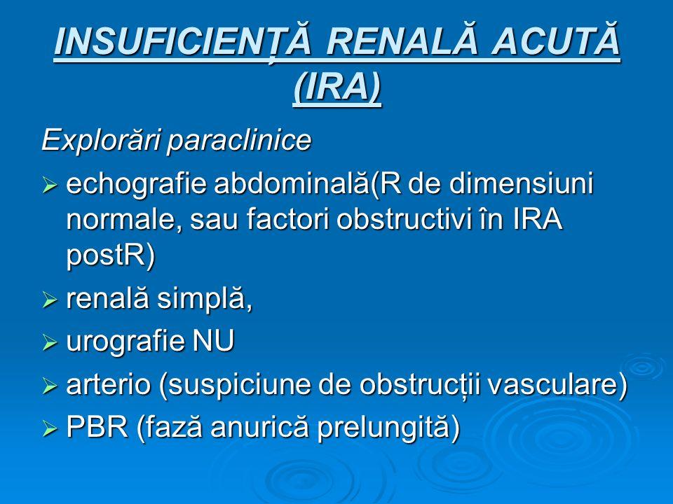 INSUFICIENŢĂ RENALĂ ACUTĂ (IRA) Explorări paraclinice echografie abdominală(R de dimensiuni normale, sau factori obstructivi în IRA postR) echografie