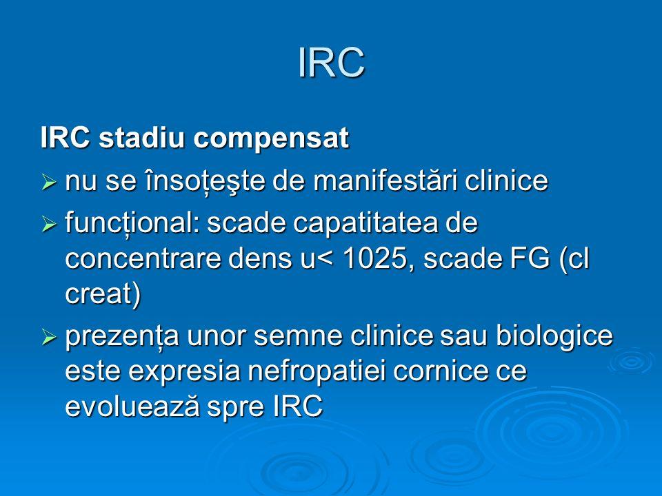 IRC IRC stadiu compensat nu se însoţeşte de manifestări clinice nu se însoţeşte de manifestări clinice funcţional: scade capatitatea de concentrare de