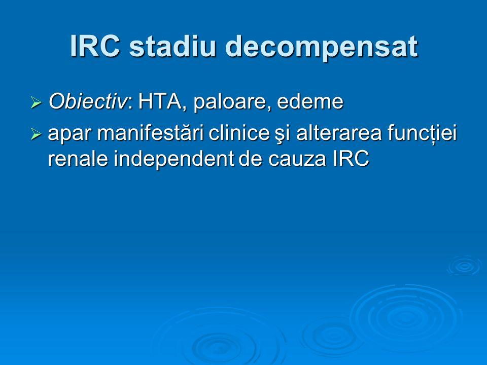 IRC stadiu decompensat Obiectiv: HTA, paloare, edeme Obiectiv: HTA, paloare, edeme apar manifestări clinice şi alterarea funcţiei renale independent d