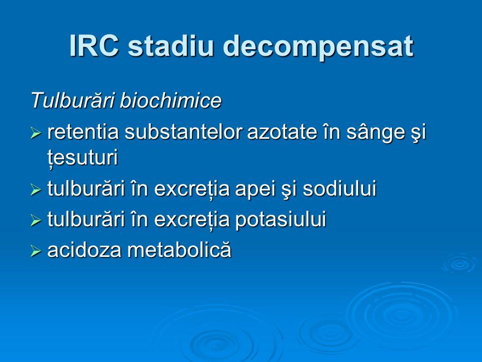 IRC stadiu decompensat Tulburări biochimice retentia substantelor azotate în sânge şi ţesuturi retentia substantelor azotate în sânge şi ţesuturi tulb