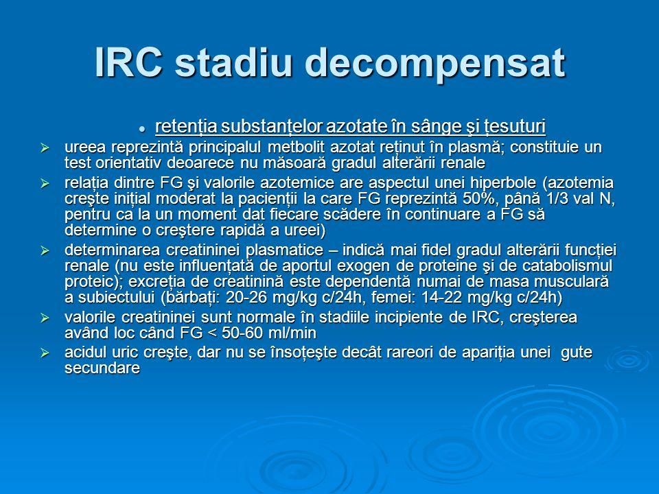 IRC stadiu decompensat retenţia substanţelor azotate în sânge şi ţesuturi retenţia substanţelor azotate în sânge şi ţesuturi ureea reprezintă principa