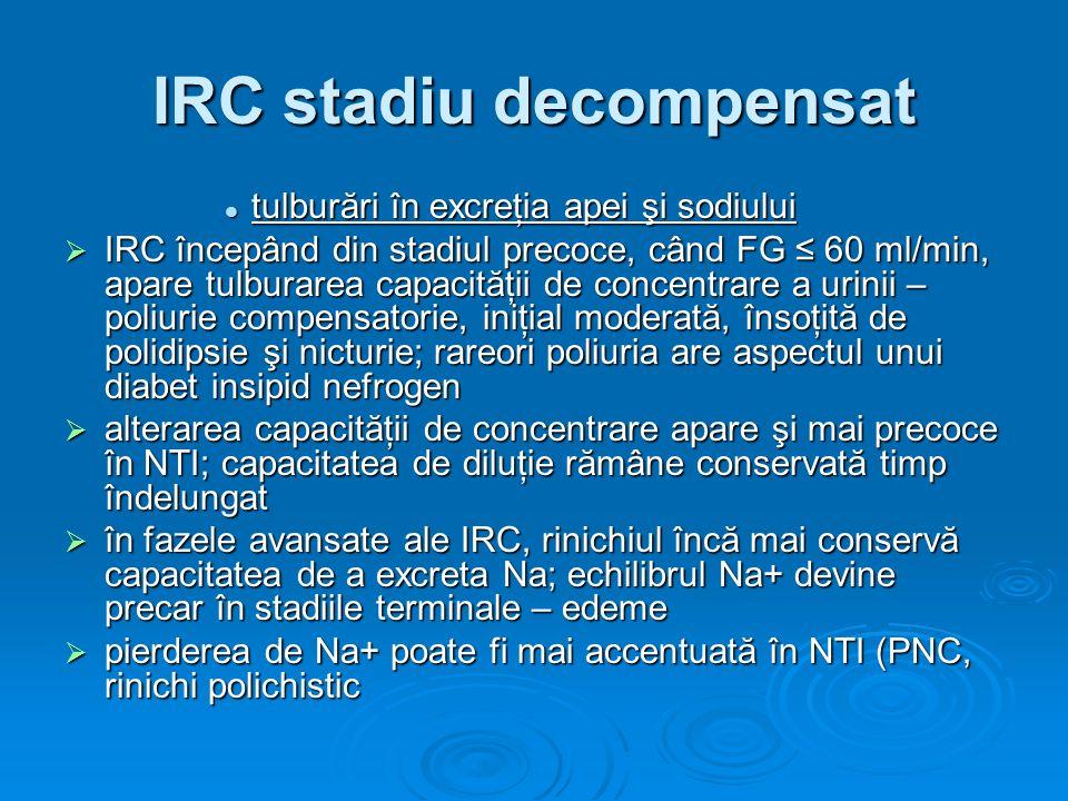 IRC stadiu decompensat tulburări în excreţia apei şi sodiului tulburări în excreţia apei şi sodiului IRC începând din stadiul precoce, când FG 60 ml/m