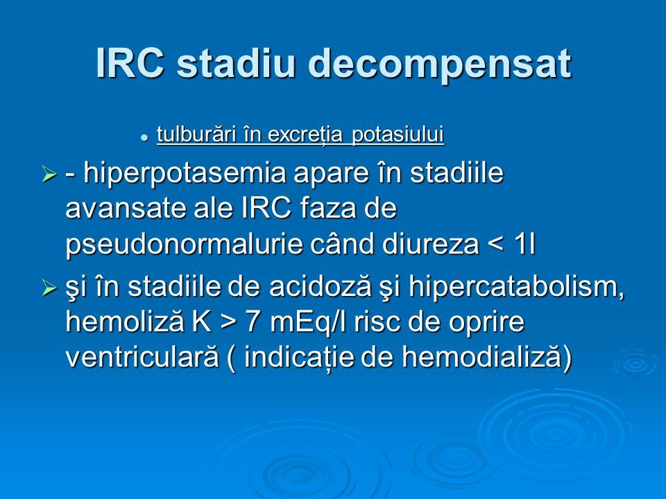 IRC stadiu decompensat tulburări în excreţia potasiului tulburări în excreţia potasiului - hiperpotasemia apare în stadiile avansate ale IRC faza de p