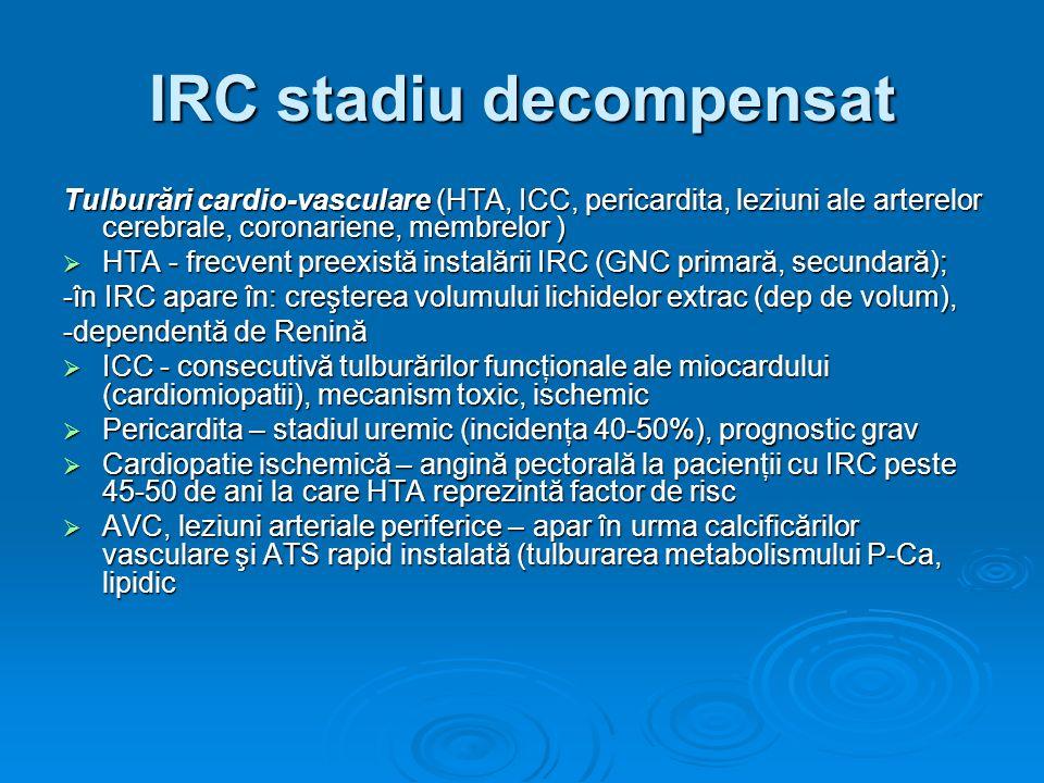 IRC stadiu decompensat Tulburări cardio-vasculare (HTA, ICC, pericardita, leziuni ale arterelor cerebrale, coronariene, membrelor ) HTA - frecvent pre