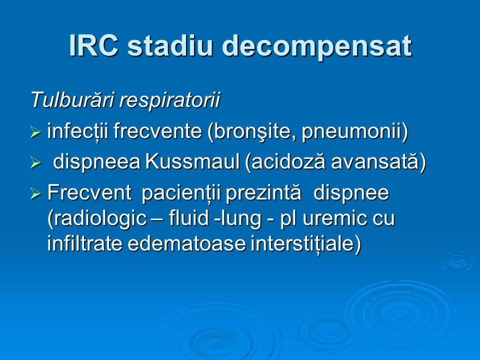 IRC stadiu decompensat Tulburări respiratorii infecţii frecvente (bronşite, pneumonii) infecţii frecvente (bronşite, pneumonii) dispneea Kussmaul (aci