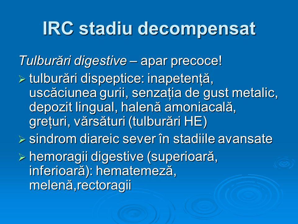 IRC stadiu decompensat Tulburări digestive – apar precoce! tulburări dispeptice: inapetenţă, uscăciunea gurii, senzaţia de gust metalic, depozit lingu