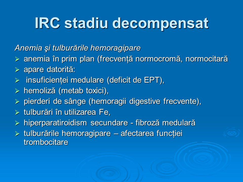 IRC stadiu decompensat Anemia şi tulburările hemoragipare anemia în prim plan (frecvenţă normocromă, normocitară anemia în prim plan (frecvenţă normoc