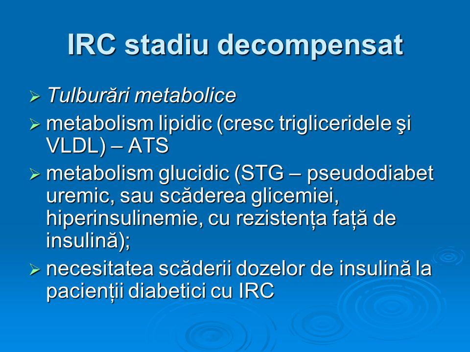 IRC stadiu decompensat Tulburări metabolice Tulburări metabolice metabolism lipidic (cresc trigliceridele şi VLDL) – ATS metabolism lipidic (cresc tri