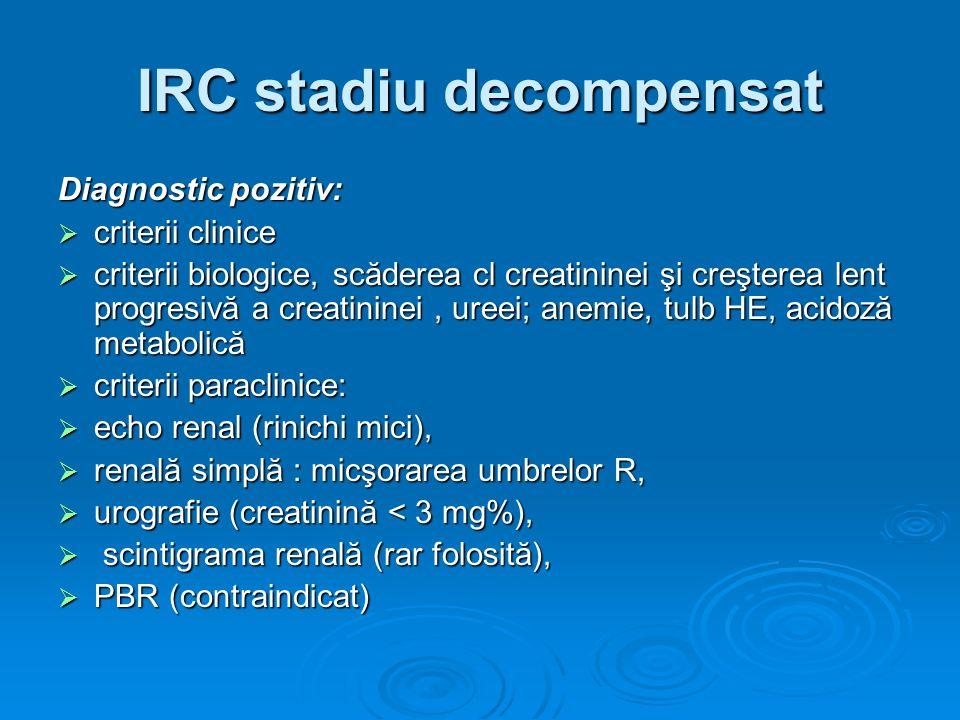 IRC stadiu decompensat Diagnostic pozitiv: criterii clinice criterii clinice criterii biologice, scăderea cl creatininei şi creşterea lent progresivă