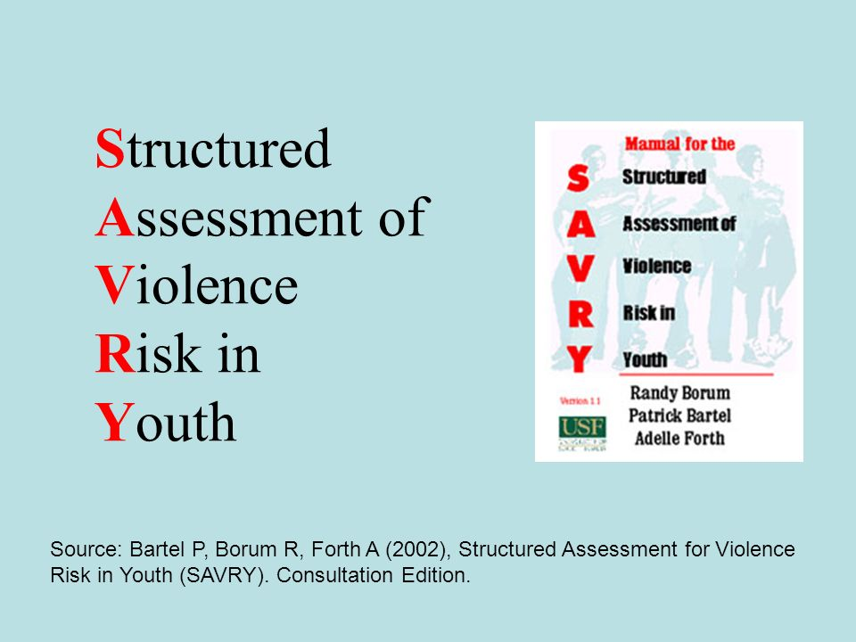 Structured Assessment of Violence Risk in Youth Source: Bartel P, Borum R, Forth A (2002), Structured Assessment for Violence Risk in Youth (SAVRY). C