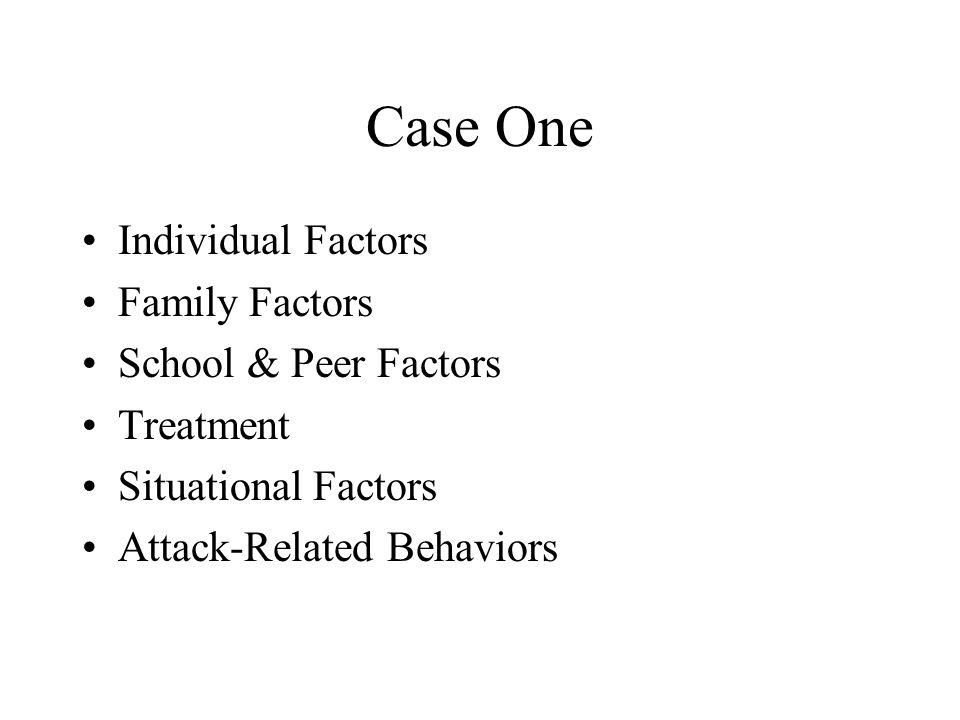 Case One Individual Factors Family Factors School & Peer Factors Treatment Situational Factors Attack-Related Behaviors