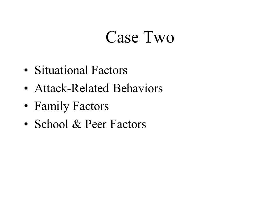 Case Two Situational Factors Attack-Related Behaviors Family Factors School & Peer Factors