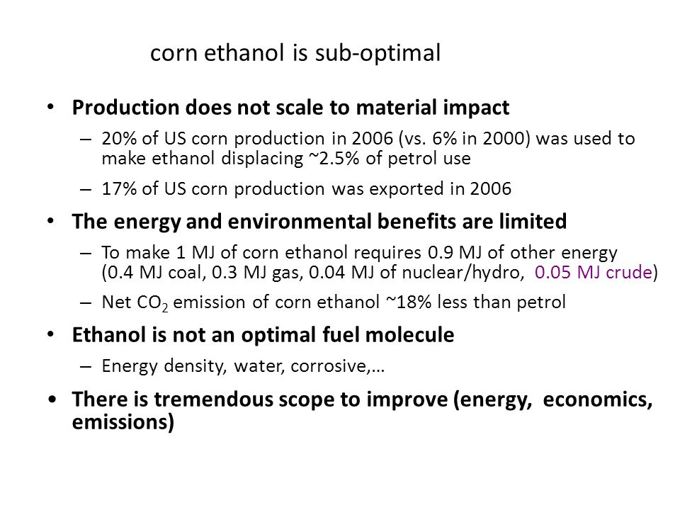 corn ethanol is sub-optimal Production does not scale to material impact – 20% of US corn production in 2006 (vs. 6% in 2000) was used to make ethanol