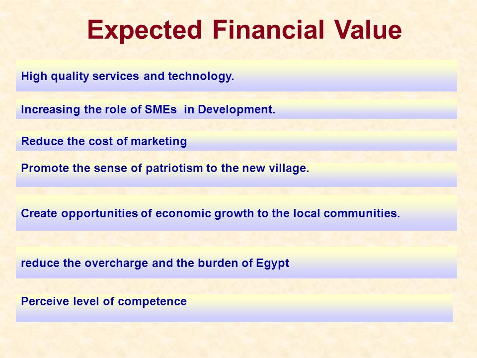 Expected Financial Value High quality services and technology. Increasing the role of SMEs in Development. Reduce the cost of marketing Promote the se