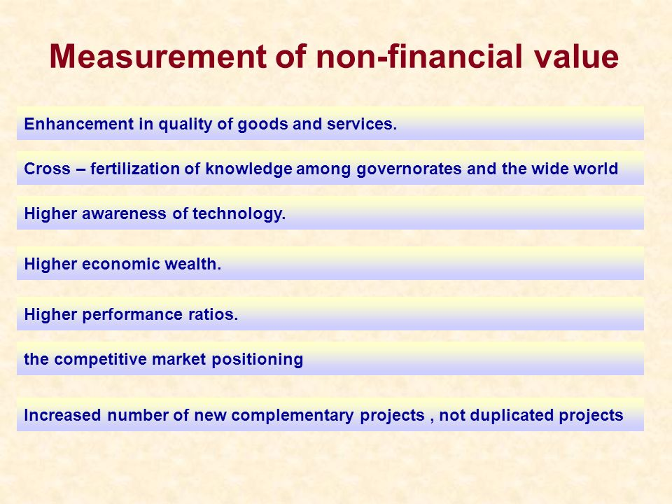 Measurement of non-financial value Cross – fertilization of knowledge among governorates and the wide world Enhancement in quality of goods and servic