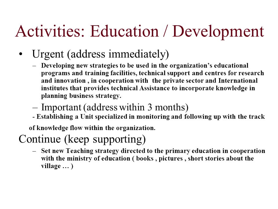 Activities: Education / Development Urgent (address immediately) –Developing new strategies to be used in the organizations educational programs and t