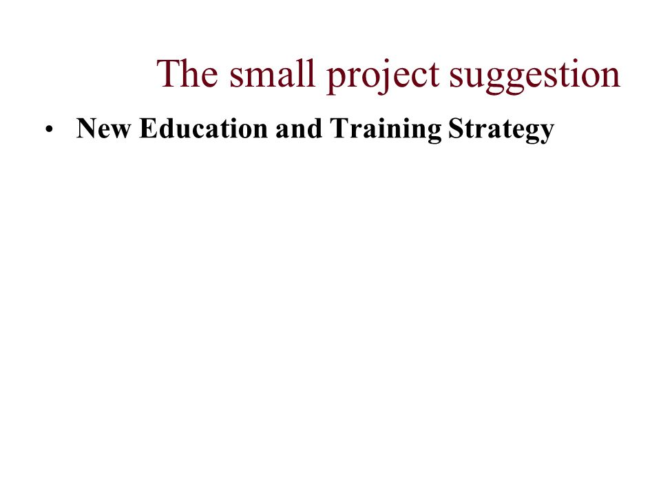 The small project suggestion New Education and Training Strategy