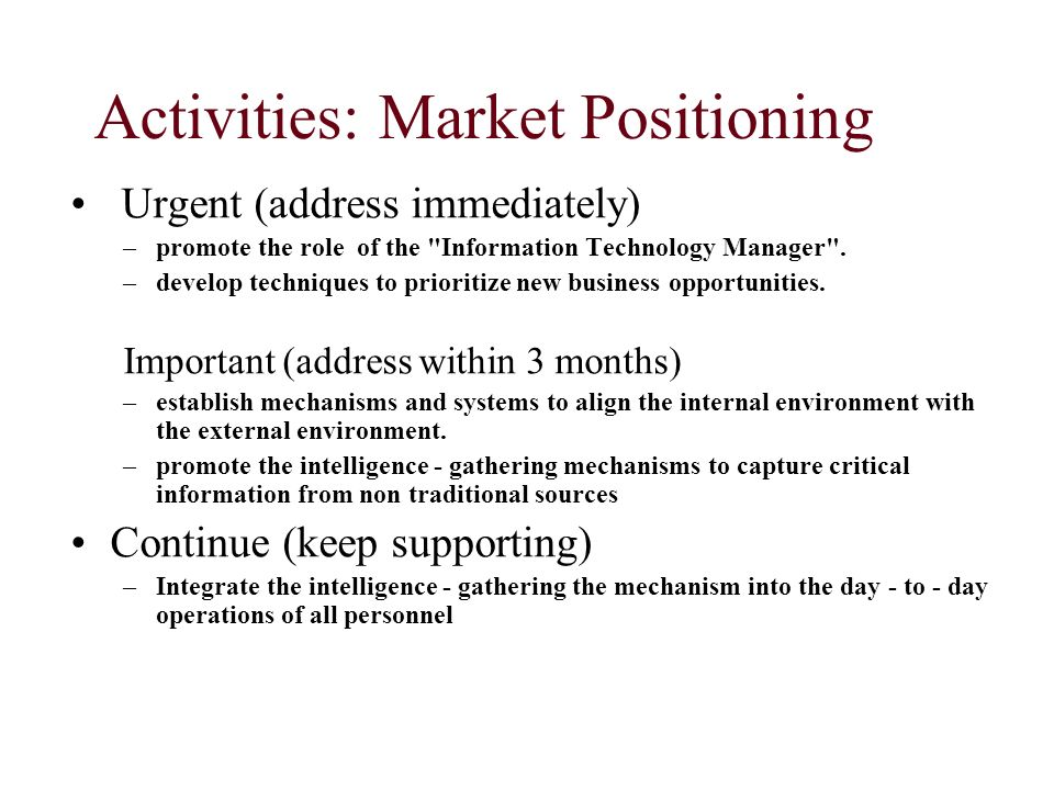 Activities: Market Positioning Urgent (address immediately) –promote the role of the