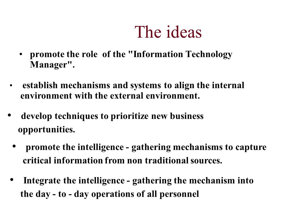 The ideas promote the role of the