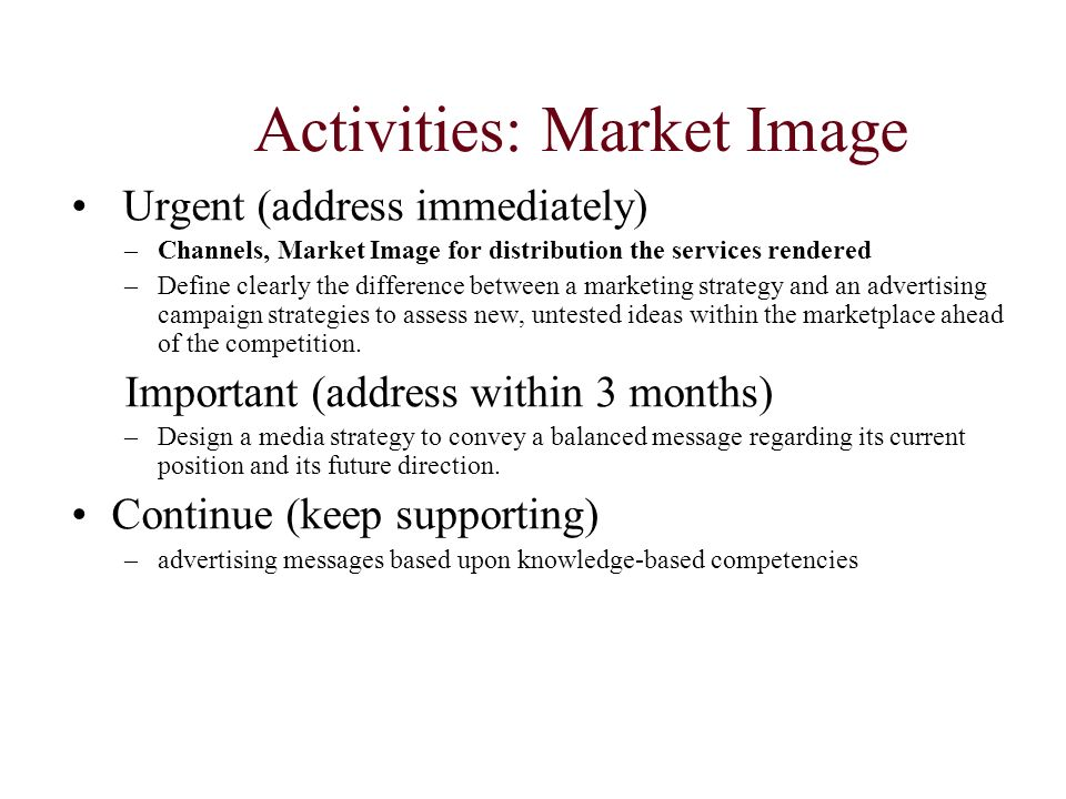 Activities: Market Image Urgent (address immediately) –Channels, Market Image for distribution the services rendered –Define clearly the difference be