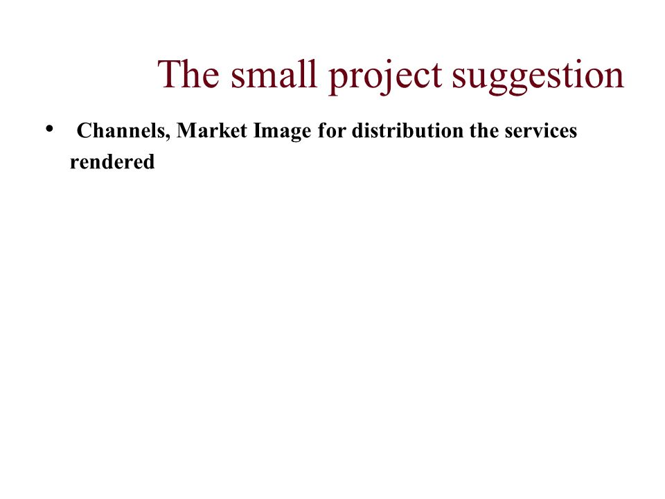 The small project suggestion Channels, Market Image for distribution the services rendered