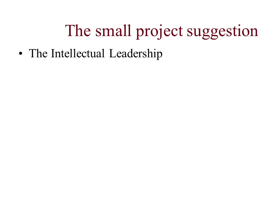 The small project suggestion The Intellectual Leadership
