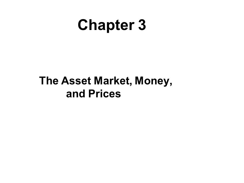 The Asset Market, Money, and Prices Chapter 3