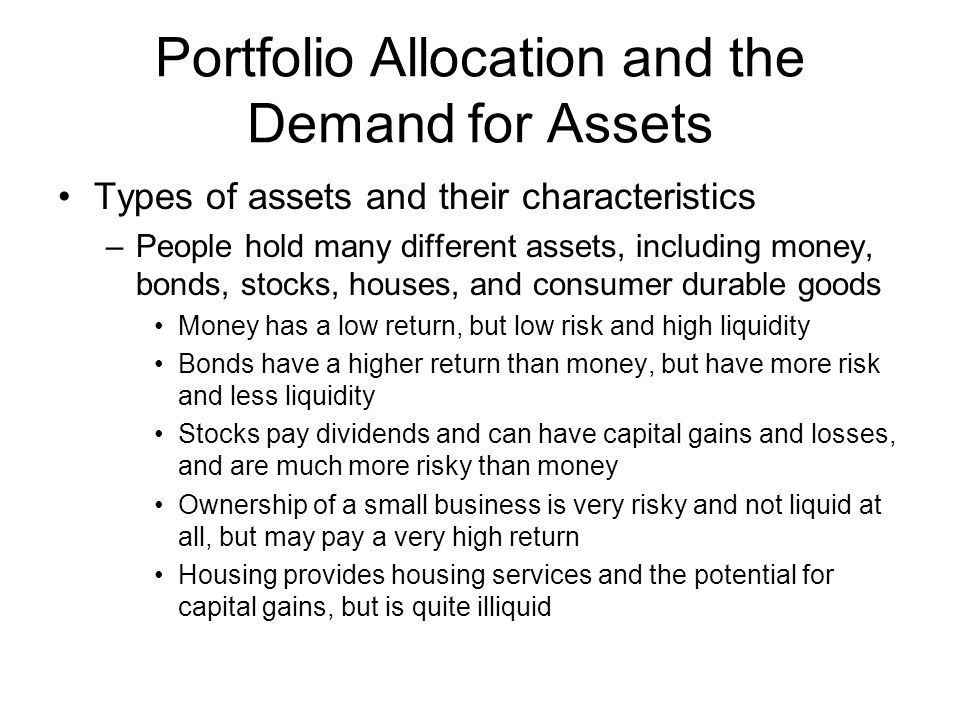 Portfolio Allocation and the Demand for Assets Types of assets and their characteristics –People hold many different assets, including money, bonds, stocks, houses, and consumer durable goods Money has a low return, but low risk and high liquidity Bonds have a higher return than money, but have more risk and less liquidity Stocks pay dividends and can have capital gains and losses, and are much more risky than money Ownership of a small business is very risky and not liquid at all, but may pay a very high return Housing provides housing services and the potential for capital gains, but is quite illiquid