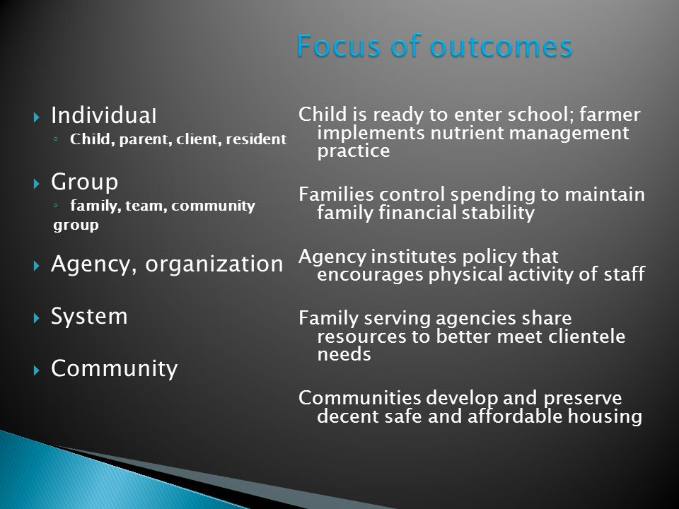Individua l Child, parent, client, resident Group family, team, community group Agency, organization System Community Child is ready to enter school;