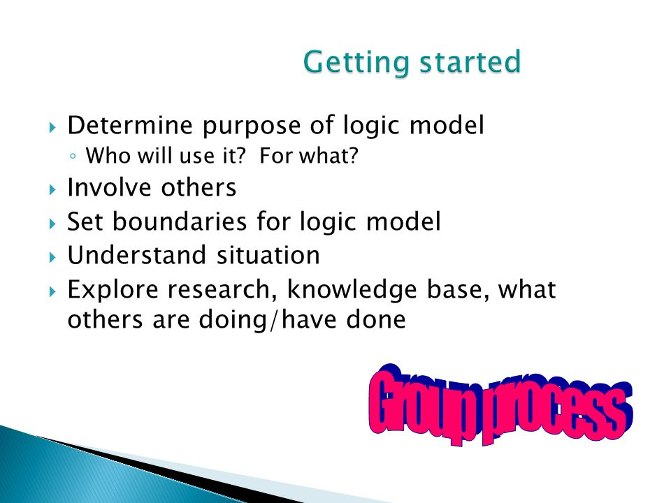 Determine purpose of logic model Who will use it? For what? Involve others Set boundaries for logic model Understand situation Explore research, knowl