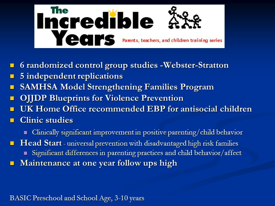 Research (contd) Parent Training group shown to be as effective as individual (family) training with high risk parents whose children had conduct problems.