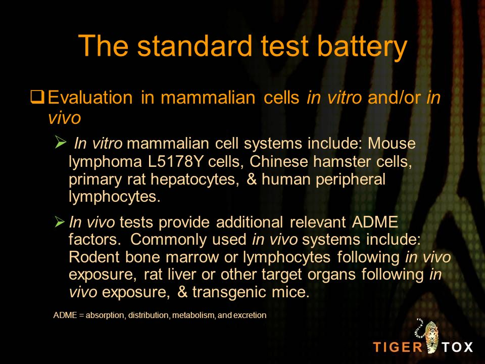 The standard test battery Evaluation in mammalian cells in vitro and/or in vivo In vitro mammalian cell systems include: Mouse lymphoma L5178Y cells,