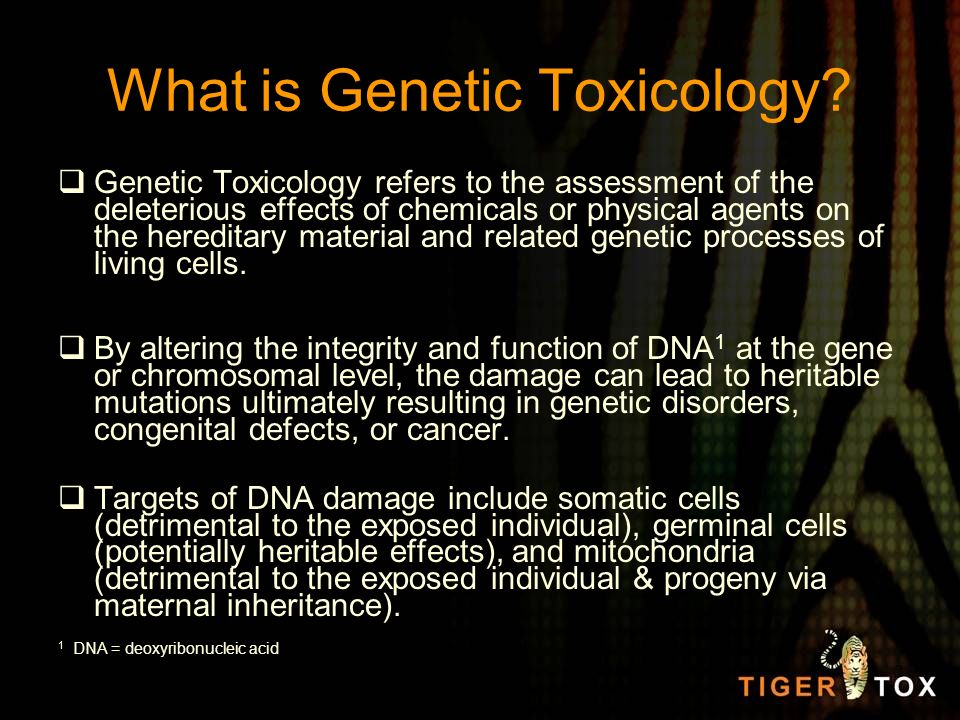 What is Genetic Toxicology? Genetic Toxicology refers to the assessment of the deleterious effects of chemicals or physical agents on the hereditary m