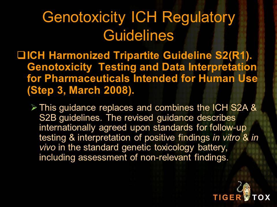 Genotoxicity ICH Regulatory Guidelines ICH Harmonized Tripartite Guideline S2(R1). Genotoxicity Testing and Data Interpretation for Pharmaceuticals In